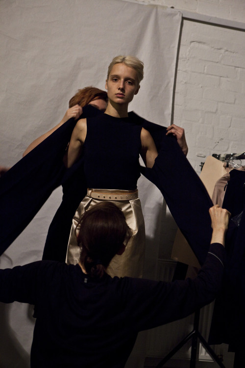 Thomas Tait Behind the Scenes Fitting   Photo: Justin Boberly
