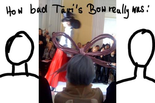 Tavi Gevinson's Bow at Dior Couture | Source: Twitpic by SteffiSchuetze