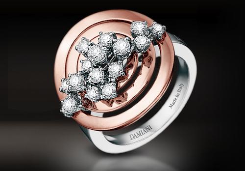 Damiani Sophia Lauren Pink and White Gold Diamond Ring | Source: Damiani